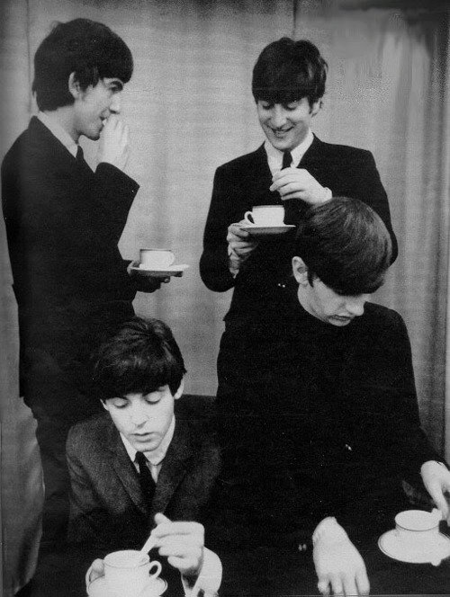 black and white, george harrison, john lennon, paul mccartney, ringo starr