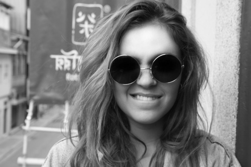 black and white, girl, glasses and photography