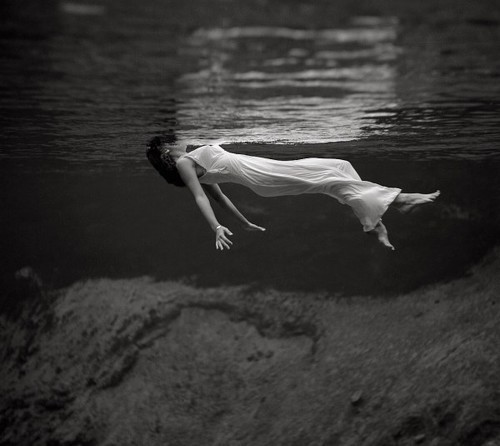 black, black and white, dress and drowning