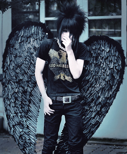 black, black angel, emo angel, emo guy, scene