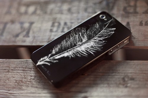 black, cool, cute, feather, iphone