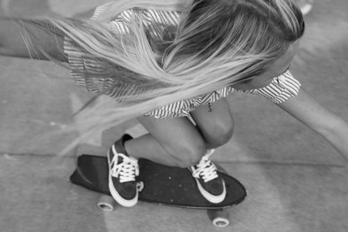 blond, blonde, cute, girl, girls, long hair, pretty, skate, skateboard, skater, vans