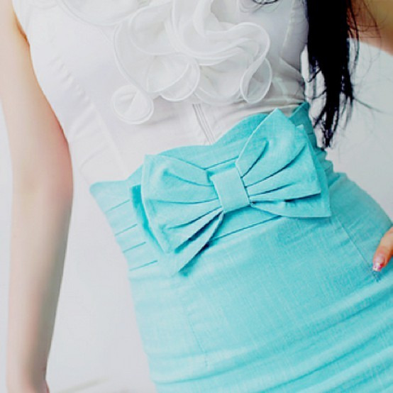 blue, bow, cute, fashion, pretty, ruffle, skirt, First Set on Favim.com