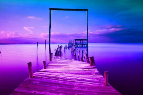 blue, cloud, clouds, landscape, ocean, photography, water, sky, view, sea, wharf, purple