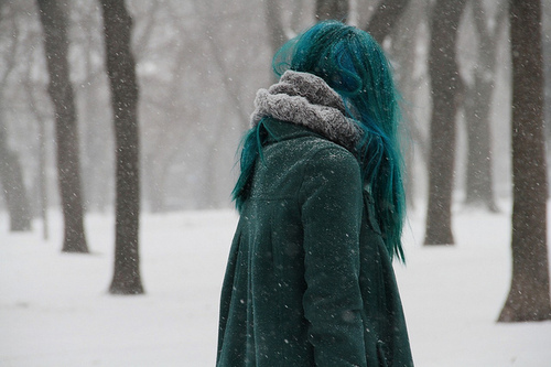 blue hair, forest, girl, winter