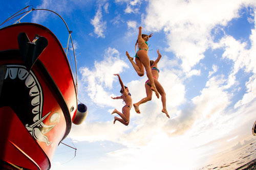 boat, fun, girl, girls , jump