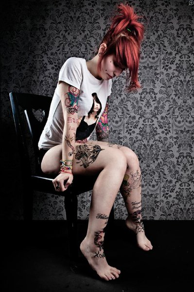 body modification, cheek piercing, girl, jane doe, jane doe suicide, red hair, suicide girls, tattoos