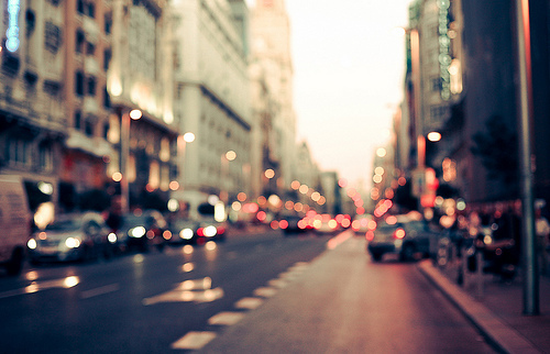 bokeh, buildings, cars, city, lights, photography, road, street, taxis