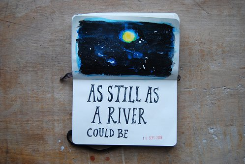 book, day, journal, life, moon, night, notebook, river, stars, still, sun, text