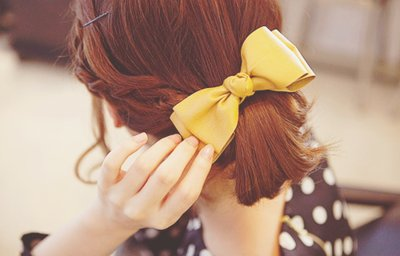 bow, braid, cute, fashion, girl, hair, hairclip, polka dots, pretty, ribbon, yellow