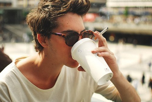 boy, cigarette, coffee, cool, guy, photography, smoke, smoking, sunglasses