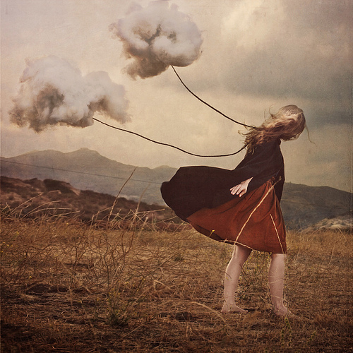 brooke shaden, cloud, girl, loney, nature, red, sadness