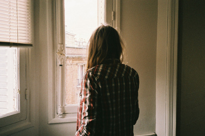 brown, brown hair, checked, checkered, fashion, girl, glass, hair, house, houses, long, long hair, room, wall, white, white wall, window