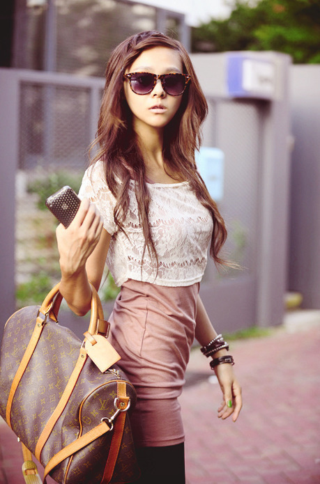 brunette, cute, fashion, girl, louis vuitton
