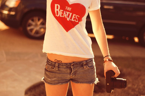 camera, fashion, photography, t-shirt, the beatles