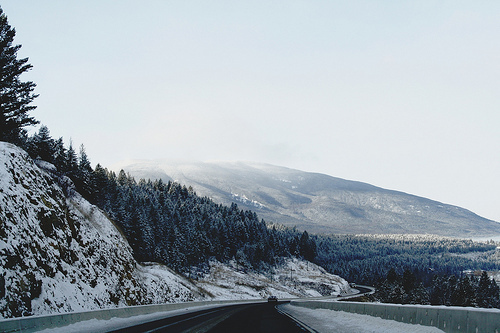canada, land, landscape, mountains, moutain, photography, road, sky, snow, trees, winter