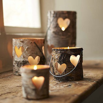 candles, cute, decor, heart, tealights, wooden, woodland