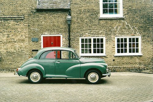car, green, vintage