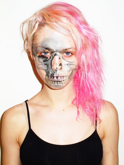 charlotte free, eyes, grunge, model, pink, pink hair, skeleton, weird