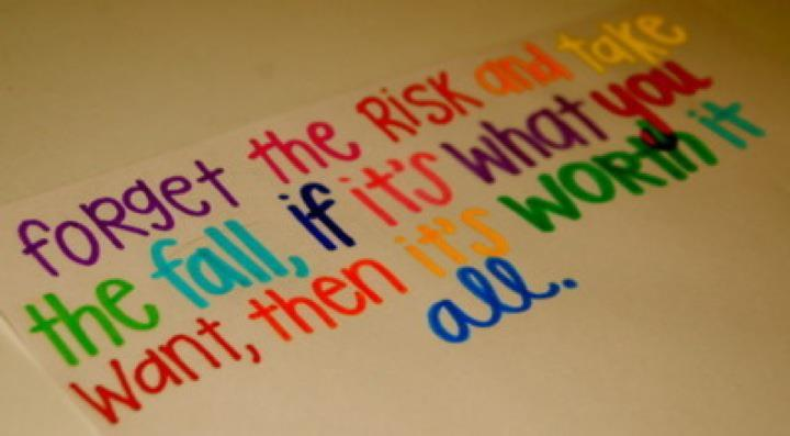 colorful, never give up and text