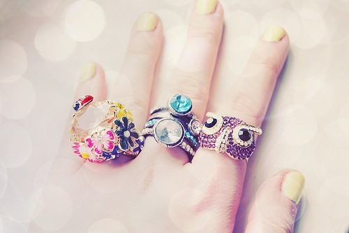 cool, girly, jewelry, photo, photography, rings, vintage, yellow