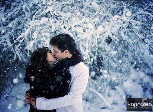 couple, girl, hug, kiss, love, snow, trees