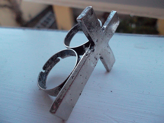 cross, cross ring, silver, vintage