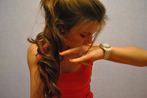 curls, fashion, girl, hair, heavy, long hair, orange, pony tail, watch