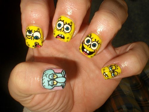 cute, nails, spongebob