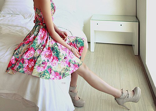 dress, fashion, floral, girl, heels