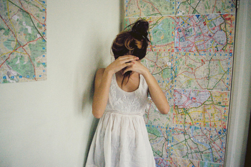 dress, girl, hair, map, pretty
