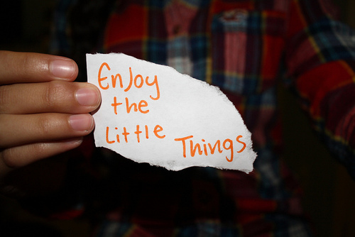 enjoy, inspiration, life, little things, orange, paper, photography, plaid, quote, writing