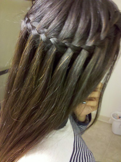 fashiion, fashion, hair, hairstyle, makeup, mode, style, waterfall braid, weheartit
