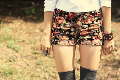 fashion, floral, girl, photography, shorts