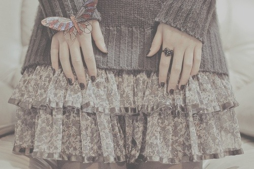 fashion, girl, nails, skirt, vintage