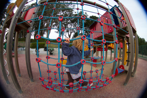 fisheye, kid, playground