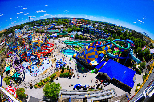 fisheye, summer, water park