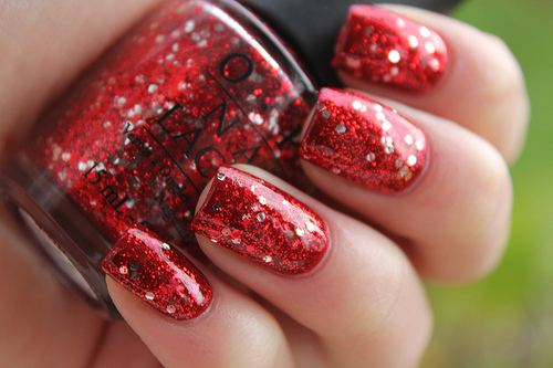 glitter, nails, red, shiny, sparkles