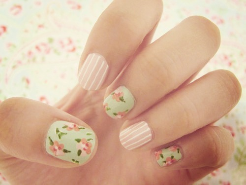 #nails #pink #flowers, blue, cute, fashion, girl