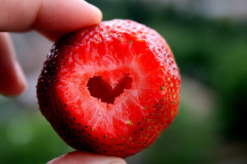#yum, cool, cute, food, frui, heart, love, red, strawberry