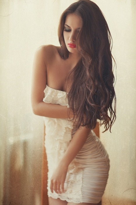 a mazing, amazing, brunette, curly, dress, girl, hair, hot, lips, long, lovely, pretty, red, sexy, short, white, First Set on Favim.com
