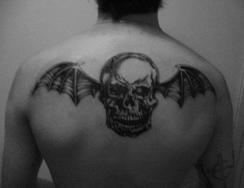 a7x, avenged sevenfold, black and white, deathbat, tattoo