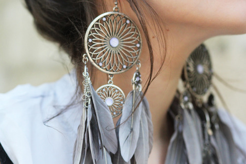 accessories, adorable, american, beautiful, blue, cute, dream catchers, earrings, fashion, feathers, gray, indie, metal, silver, stunning