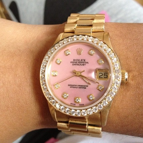 accessories, cute, girl, girly, gold, golden, golden watch, luxurious, luxury, pink, pretty, rich, rolex, rolex watch, swarovski, watch