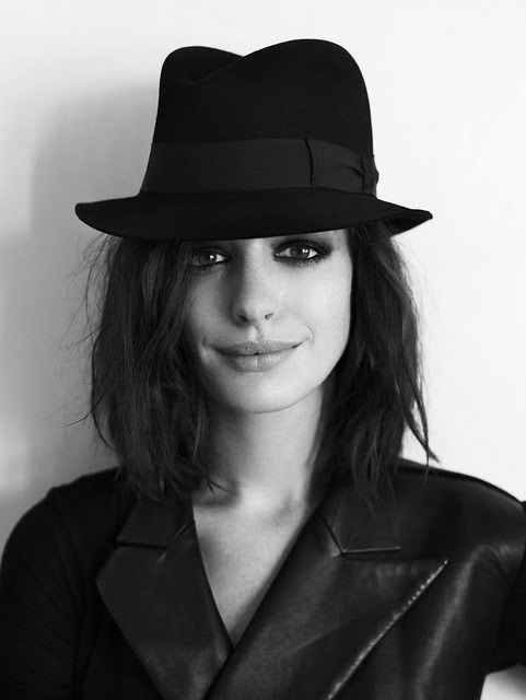 actress, anne hathaway, beautiful, black and white, hat, lesbian love, woman