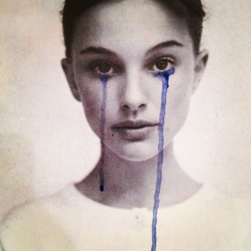 actress, art, beautiful, beauty, blue, color, colors, cry, eyes, face, lips, look, lovley, natalie portman, nice, paint, photo, photography, potrait, young