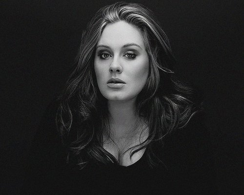 adele, black and white, we heart it