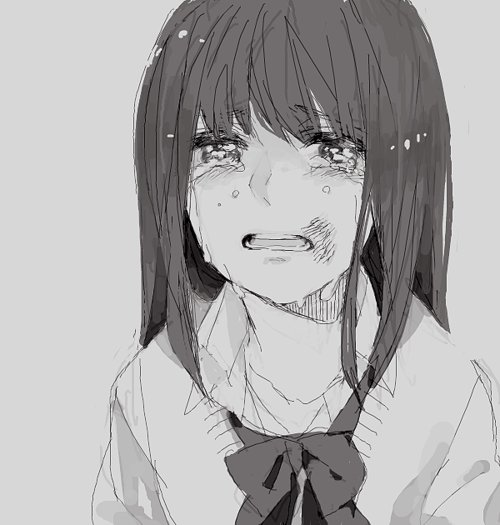 adorable, amazing, anime, art, b&w, beautiful, black & white, black and white, cry, cute, draw, eyes, fashion, female, girl, hair, illustration, image, kawaii, perfect, rpetty, sad, style