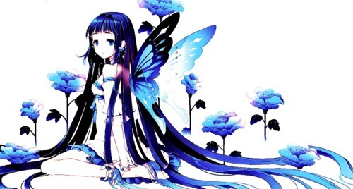 adorable, anime, art, blue, blue butterfly, butterfly, cute, flowers, girl, image, lovely, sweet, wings