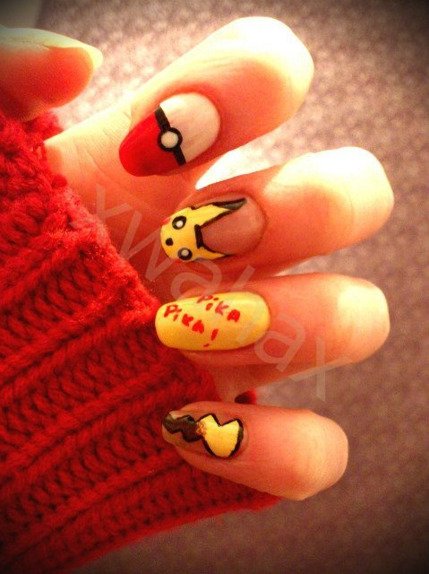 adorable, art, cute, fashion, girl, kawaii, nail art, nails, pikachu, pikatchu, pretty, sweater